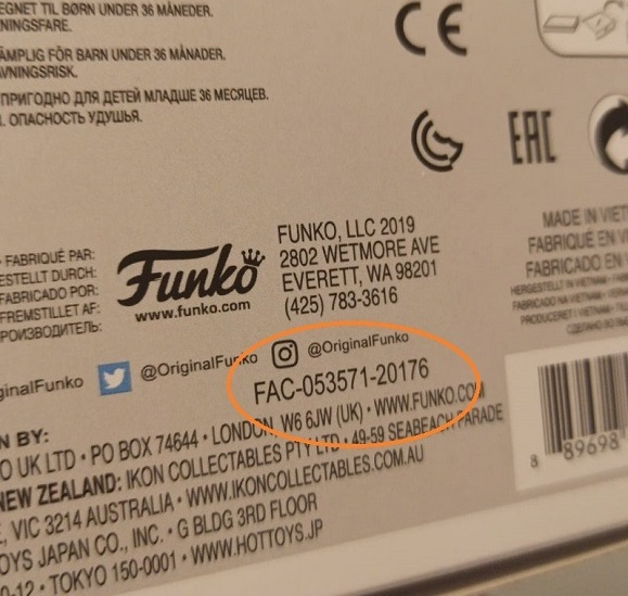 número de serie de la caja del funko